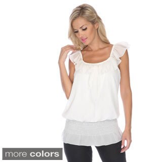 White Mark Ruffle Tank