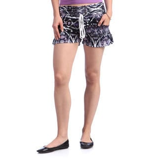 Tribal Black and Purple Jersey Elastic Waist Shorts