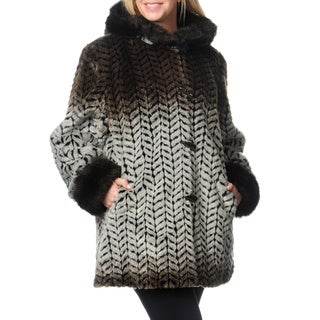 Nuage Women's Plus Size Zig-zag Print Faux Fur Coat