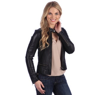 United Face Women's Black Peplum Seamed Moto Jacket