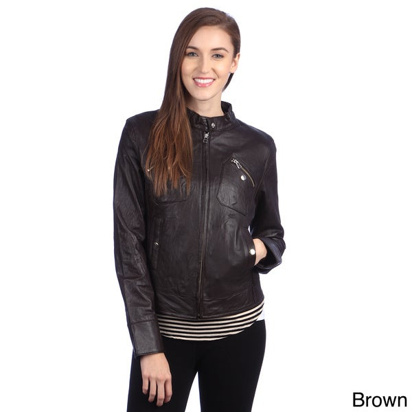 United Face Womens Lambskin Leather Moto Jacket
