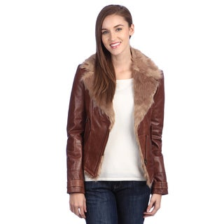 United Face Womens Faux Fur Lined Leather Biker Jacket
