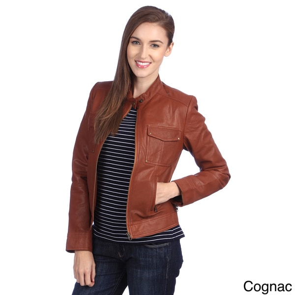 United Face Womens Leather Moto Jacket