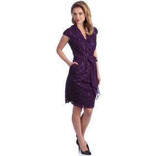 Alex Evenings Women's Casis Stretch Lace Surplice Dress