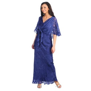 Alex Evenings Women's Cobalt Silk Blend Burnout Sleeveless Gown