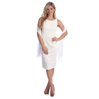 Alex Evenings Women's Ivory Stretch Lace Sleeveless Dress