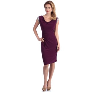 Alex Evenings Women's Sangria Cowl Neck Beaded Sleeve Dress