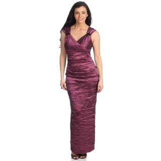 Alex Evenings Women's Dark Mauve Taffeta Surplice Dress