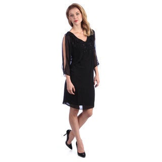 Alex Evenings Women's Black Split Sleeve Poncho Dress