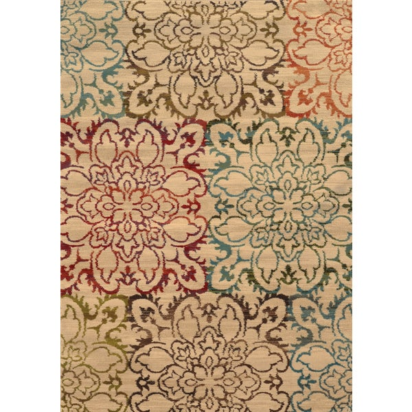 Oversized Floral Ivory/ Multi Rug (10' X 13')