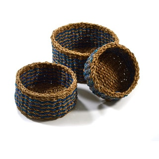 Handwoven Set of 3 Rustic Ocean Baskets (Bangladesh)