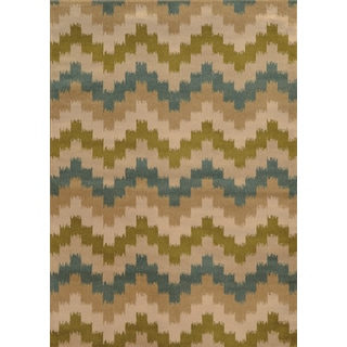 Geometric Chevron Blue/ Green Rug (5' x 7'6)