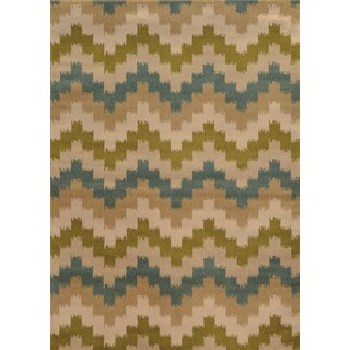 Geometric Chevron Blue/ Green Polypropylene Rug (5' x 7'6)