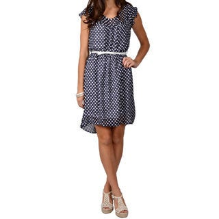 Journee Collection Junior's Belted Polka-dot Dress