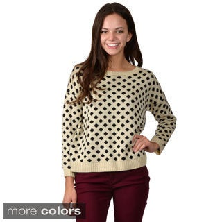 Journee Collection Junior's Polka-dot Long-sleeve Sweater