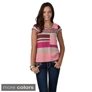 Journee Collection Junior's Striped Hi-lo Tee