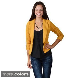 Journee Collection Junior's Shirred Sleeve One-button Blazer