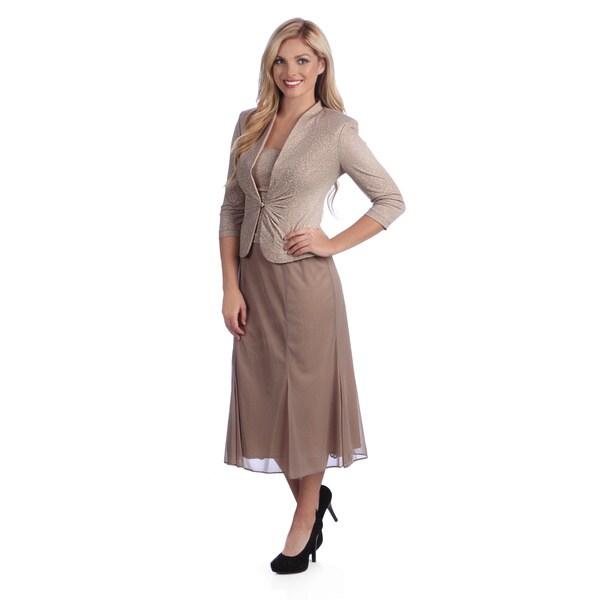 Alex Evenings Women's Mock T-length Evening Jacket and Dress Set