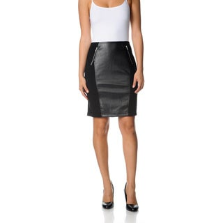 Grace Elements Women's Black Faux Leather Ponte Pencil Skirt
