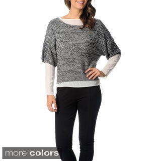 Chelsea & Theodore Women's Fabric Mixing Fashion Sweater