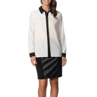Chelsea & Theodore Women's White/ Black Wet Look Collared Blouse