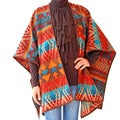 'Santa Fe' Orange Fire Printed Wool Shawl