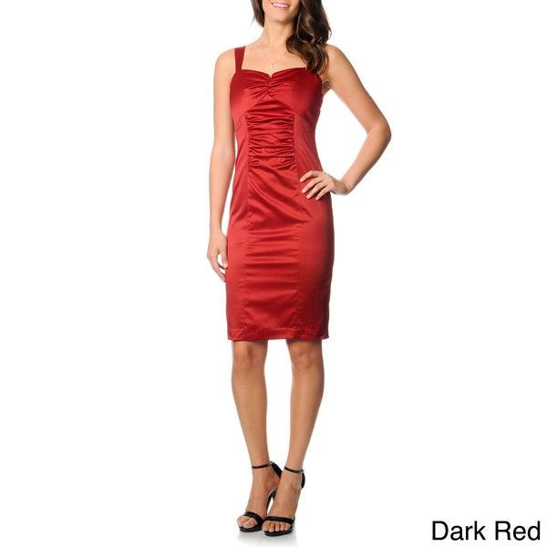 Newport News Women's Sleeveless Satin Sheath Dress