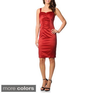 Newport News Women's Sleeveless Satin Sheath Dress