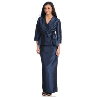 Alex Evenings 2-Piece Evening Dress with Side Tie Peplum Blouse and Long Column Skirt