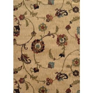 Floral Ikat Tan/ Multi Polypropylene Rug (5'3 x 7'6)