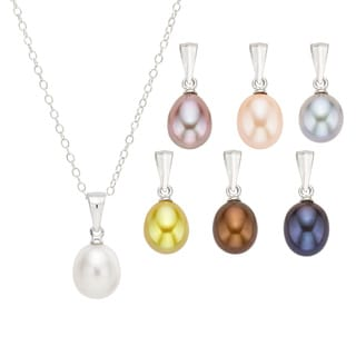 Pearlyta Silver Colored FW Pearl Interchangeable Necklace Set (7-8mm)