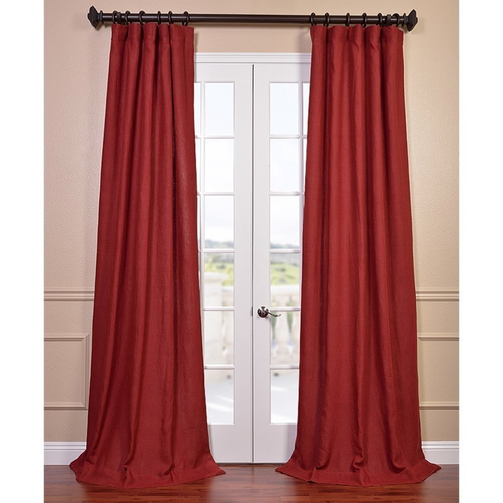 EFF Tango Red French Linen Lined Curtain Panel