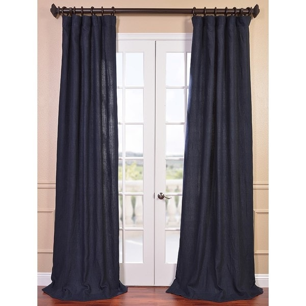 Denim Blue French Linen Curtain Panel