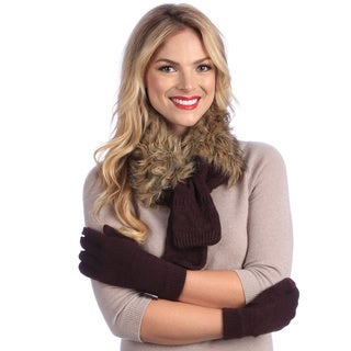 MUK LUKS Faux Fur Neck Wrap with Texting Glove