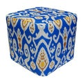 Handcrafted Ikat Outdoor Pouf Ottoman (India)