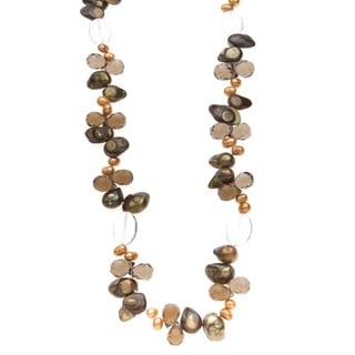 Freshwater Pearl, Smokey Quartz and Crystal Necklace (5-13 mm)
