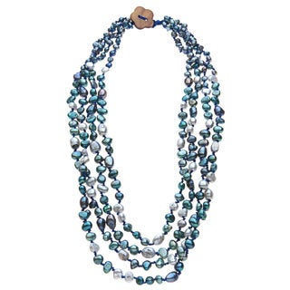 Green, Grey and Peacock FW Pearl Multi-strand Necklace (4-9 mm)