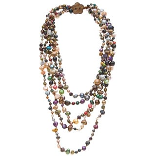 Multi-colored Freshwater Pearl 5-strand Necklace (4-9 mm)