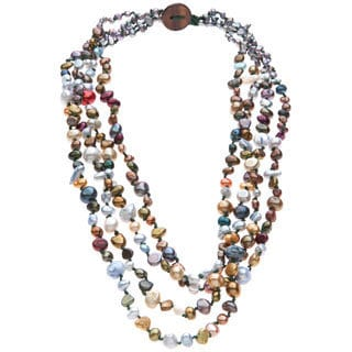 Multi-colored Freshwater Pearl 4-strand Necklace (3-9 mm)