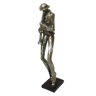 Mardi Gras Silver Pewter 19-inch Jazz Clarinet Musician Figurine