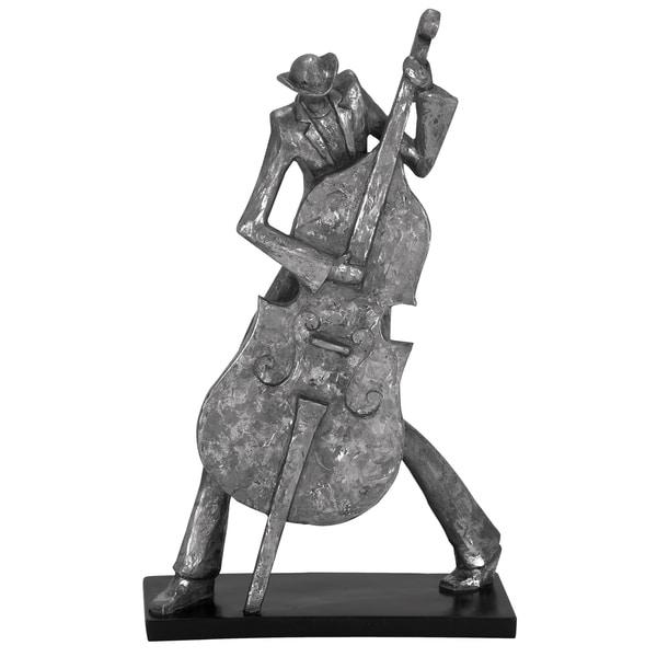 Mardi Gras Pewter 19-inch Jazz Cello Musician Figurine