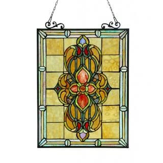 Tiffany Style Victorian Design Window Art Glass Panel