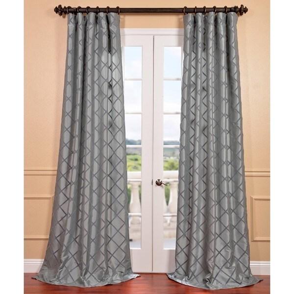 Pavillion Silver Flocked Faux Silk Curtain