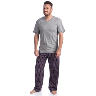 Majestic Men's Ike Behar Navy Plaid 2-piece Cotton Lounge Set