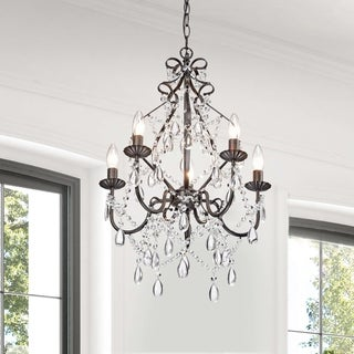Bethany 5-Light Iron and Crystal Candle Chandelier