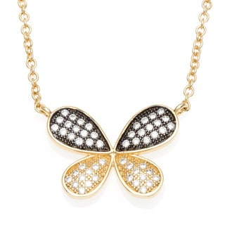 Sterling Essentials 18k Gold over Silver Pave CZ Butterfly Necklace