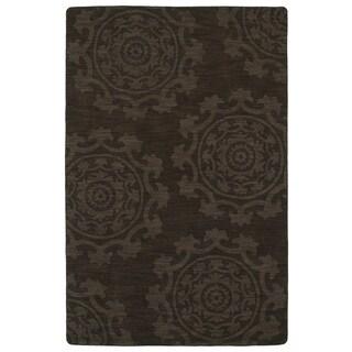 Trends Suzani Chocolate Brown Wool Rug (5'0 x 8'0)