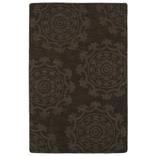 Trends Suzani Chocolate Brown Wool Rug (9'6 x 13'6)