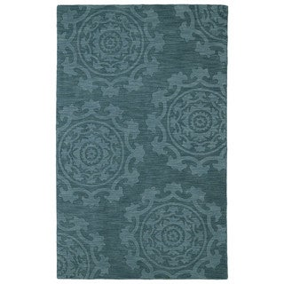 Trends Suzani Turquoise Wool Rug (5'0 x 8'0)