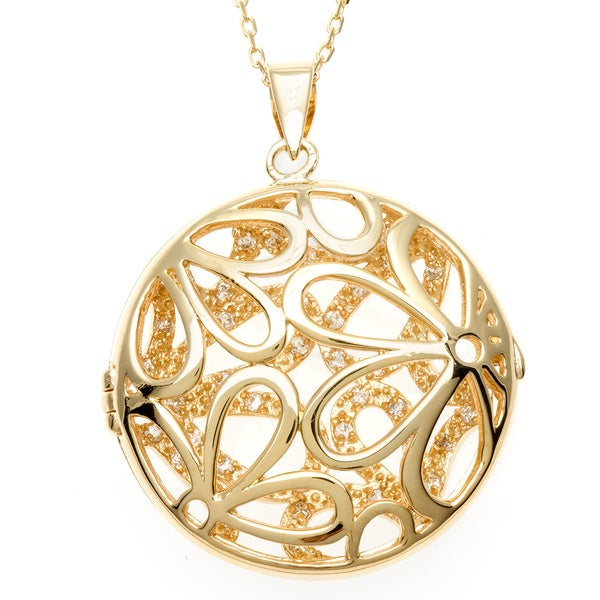 Sterling Essentials 18k Gold over Silver CZ Daisy Cutout Locket Necklace